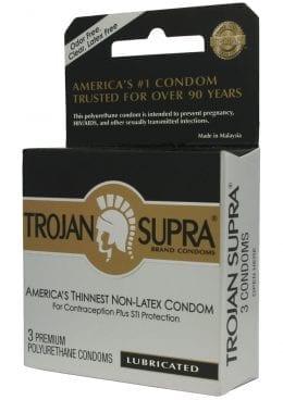 Trojan Condom Supra Microsheer Non Latex Lubricated 3 Pack