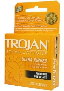 Trojan Condom Stimulations Ultra Ribbed Lubricated 3 Pack