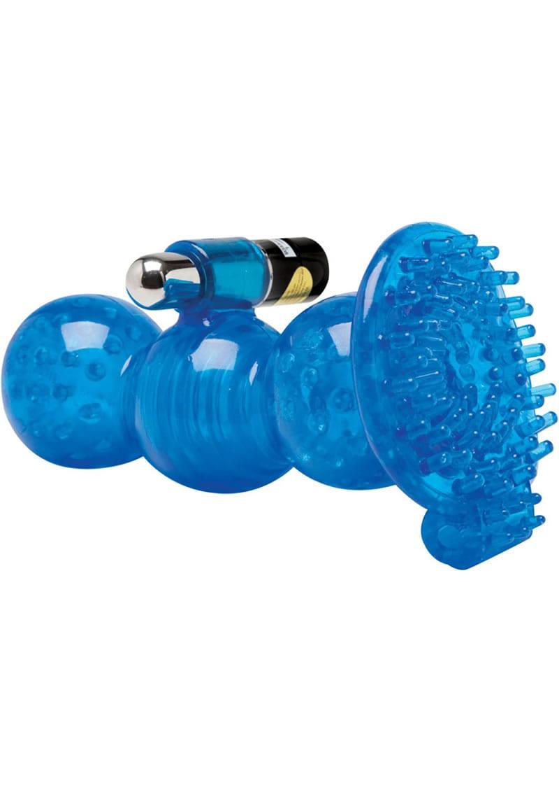 Adam And Eve CyberSkin 5X Vibrating Royal Grip Stroker Waterproof 5.5 Inch Blue