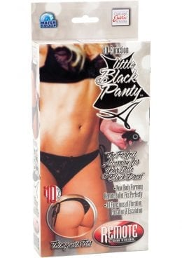 Little Black Panty Thong With Ties Remote Control Waterproof