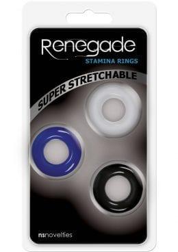 Renegade Stamina Cock Rings Assorted Colors 3 Each Per Pack