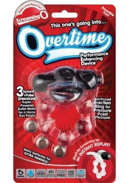 Screaming O Overtime Silicone Vibrating Cockring Waterproof Black