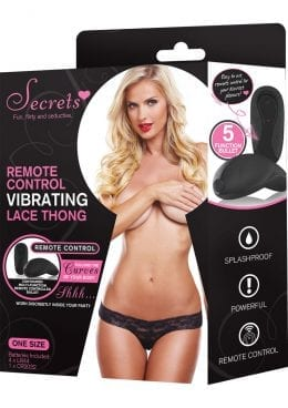 Secrets Remote Control Vibrating Lace Thong Black