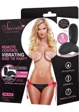 Secrets Remote Control Vibrating Side Tie Panty Black/Pink