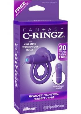 Fantasy C-ringz Remote Control Rabbit Cock Ring Silicone Purple