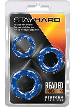 Stay Hard Beaded Cockrings Blue 3 Each Per Set