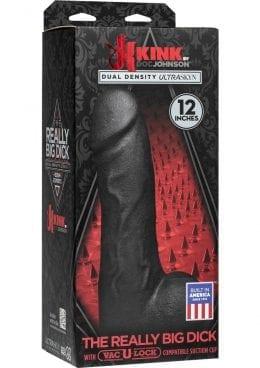Kink The Really Big Dick Dual Desity Ultraskyn Dong With Vac U Lock Black 12 Inch