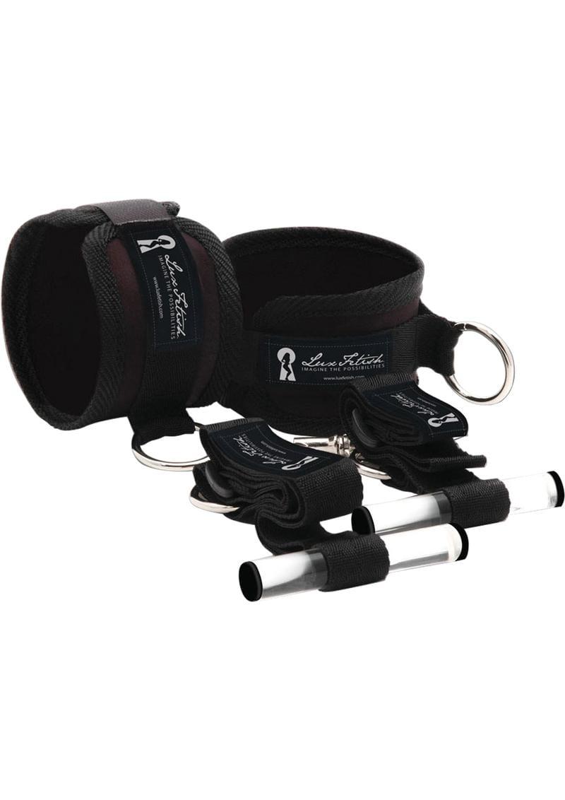 Lux Fetish Closet Cuffs Adjustable Playful Restraint System 4 Piece Set Black