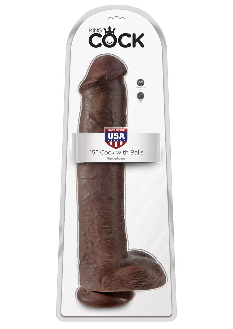 King Cock Realistic Dildo With Balls Brown 15 Inch