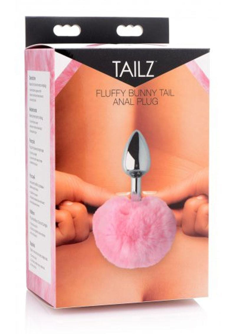 Tailz Fluffy Bunny Tail Anal Plug Pink And Silver