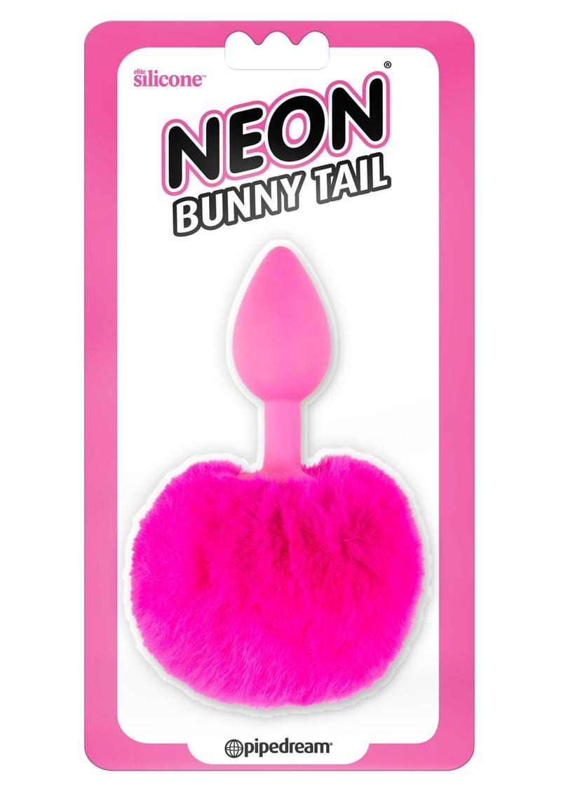 Neon Silicone Bunny Tail Butt Plug Pink