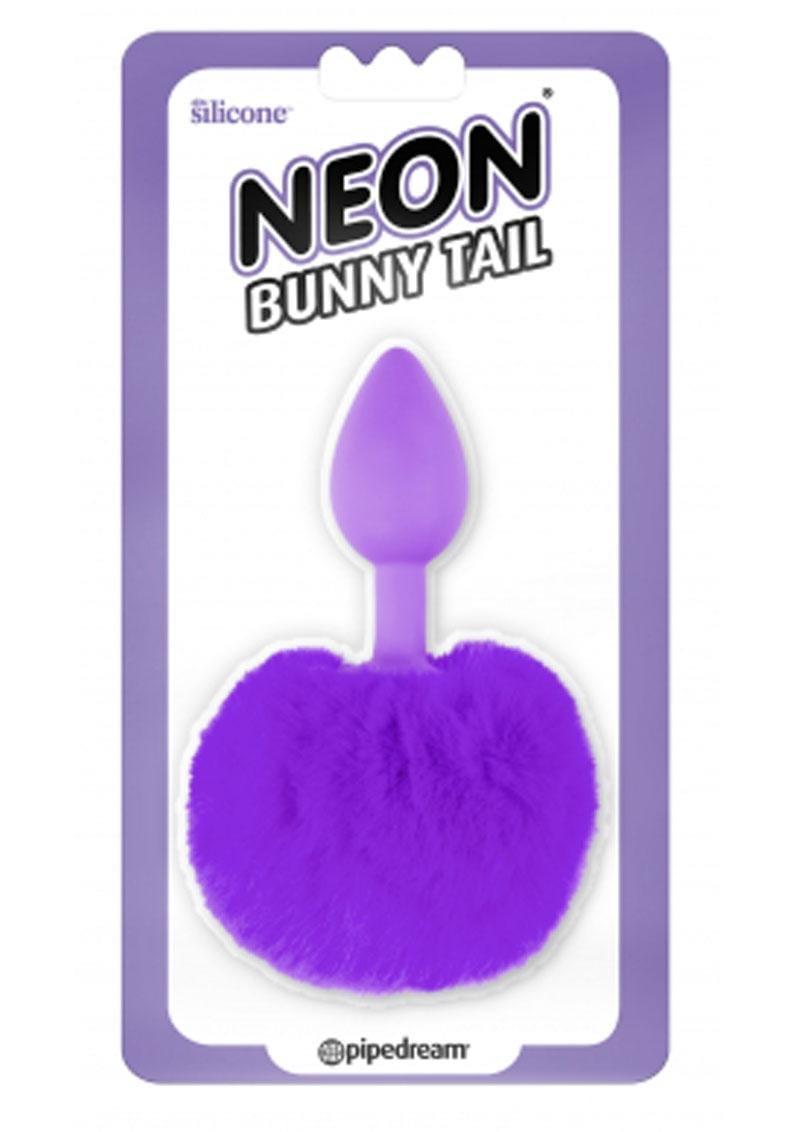 Neon Silicone Bunny Tail Butt Plug Purple
