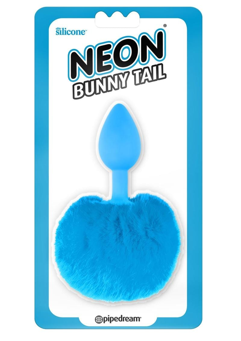 Neon Silicone Bunny Tail Butt Plug Blue