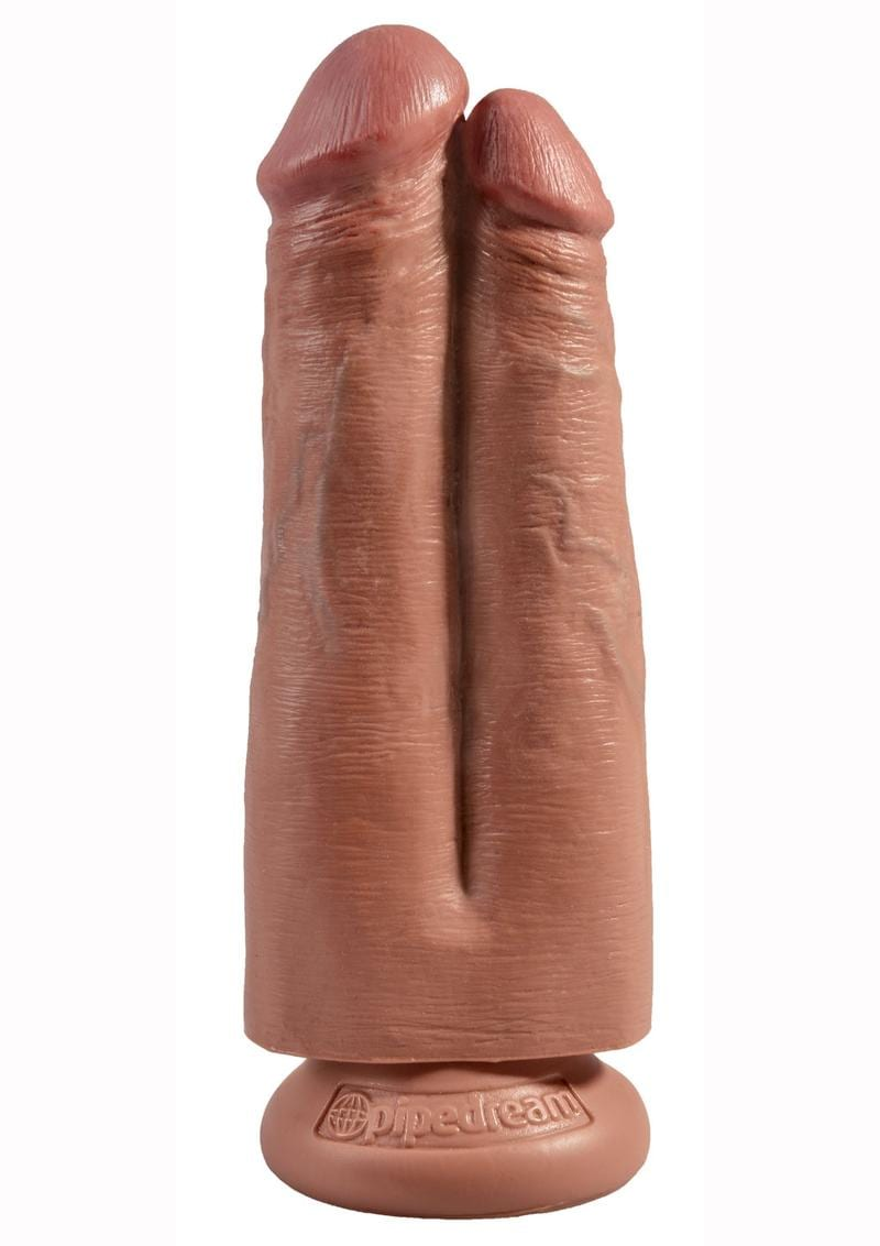 King Cock Strap-On Harness With Two Cocks One Hole Dildo Tan 7 Inch