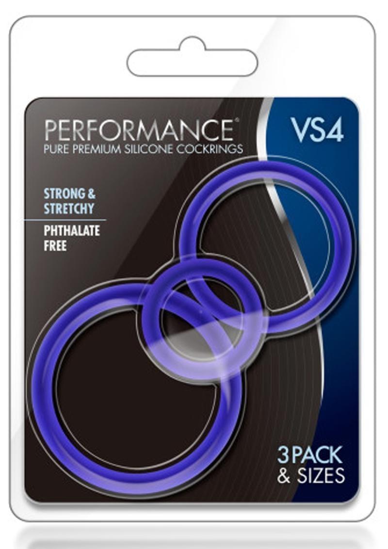 Performance VS4 Pure Premium Silicone Waterproof Cockring 3 Piece Set Indigo
