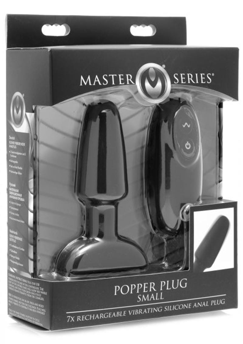Master Series Popper Plus 7X USB Rechargeable Vibrating Silicone Small Anal Plug With Wired Remote