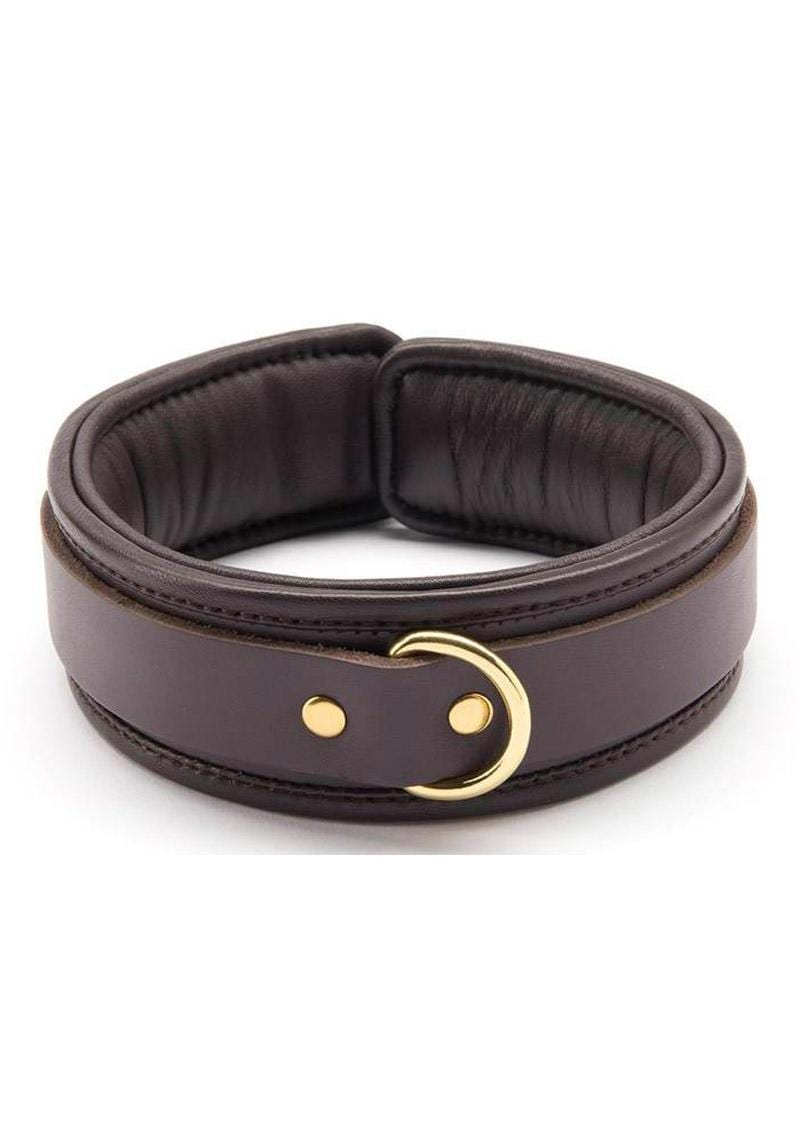Coco De Mer Leather Padded Collar Brown