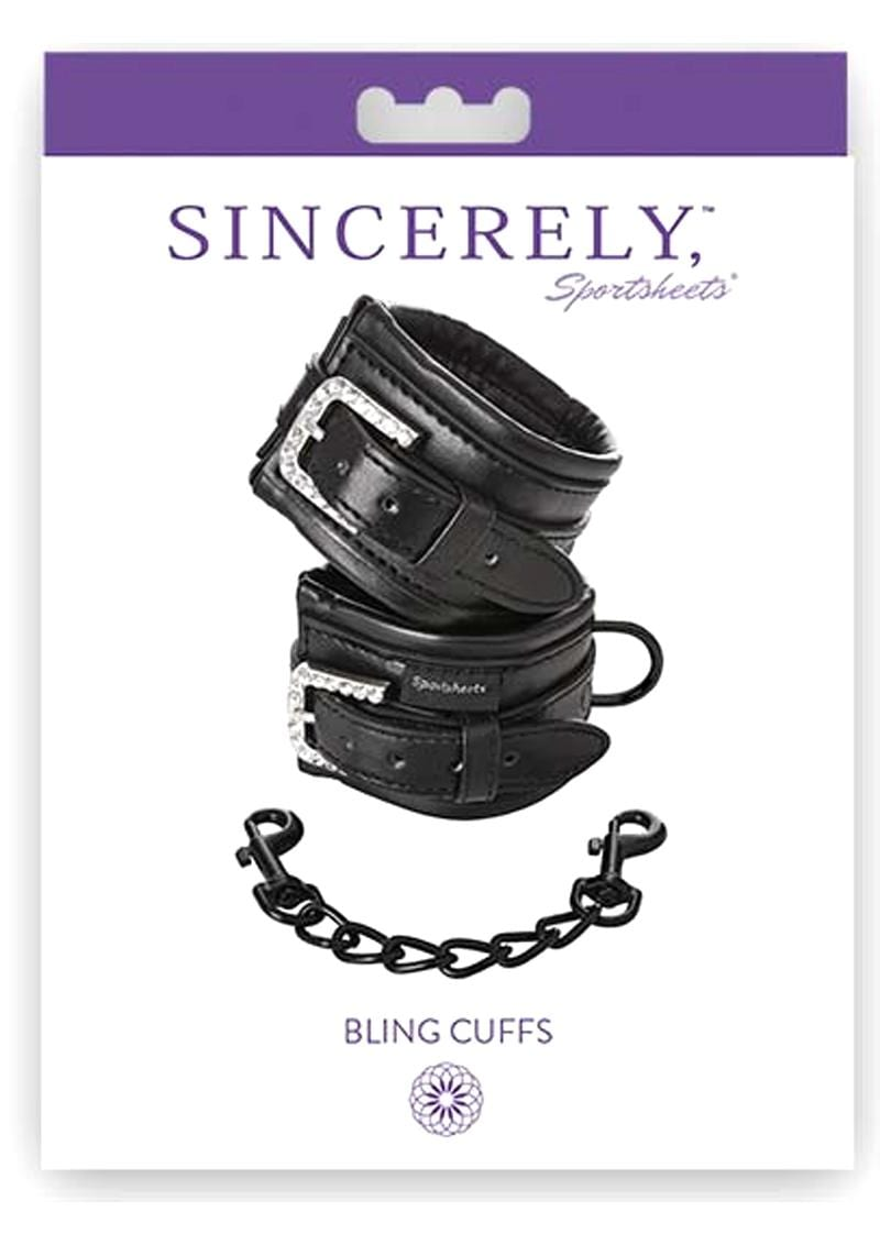 Sincerely Sportsheets Bling Cuffs Black