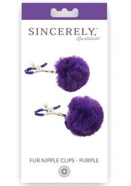 Sincerely Fur Nipple Clamps Purple