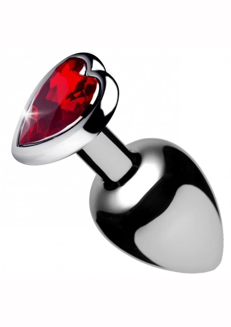 Booty Sparks Red Heart Anal Plug Red and Silver Large