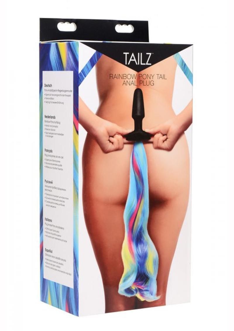 Tailz Pony Tail Anal Plug Silicone Rainbow 4.25 Inches