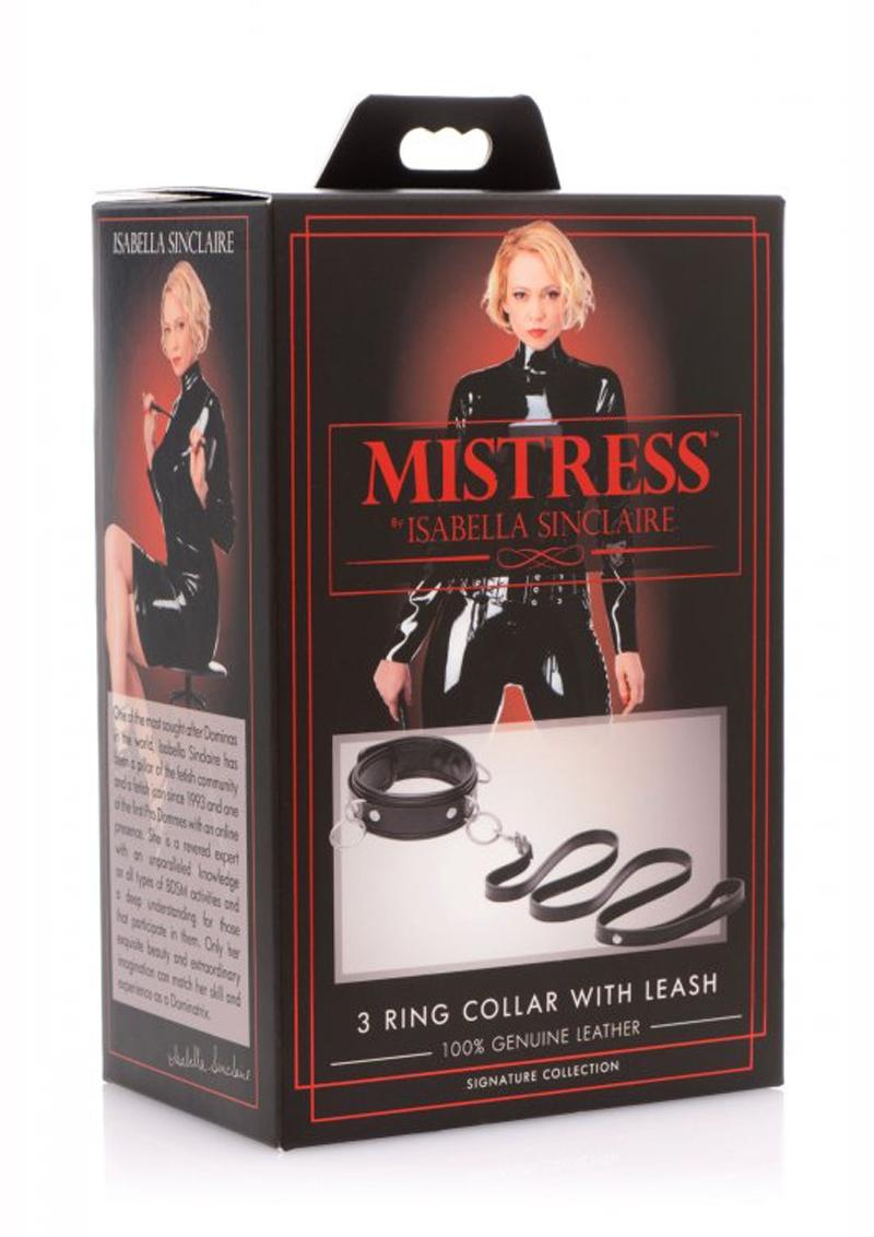 Mistress By Isabella Sinclaire 3 Ring Collar With Leash