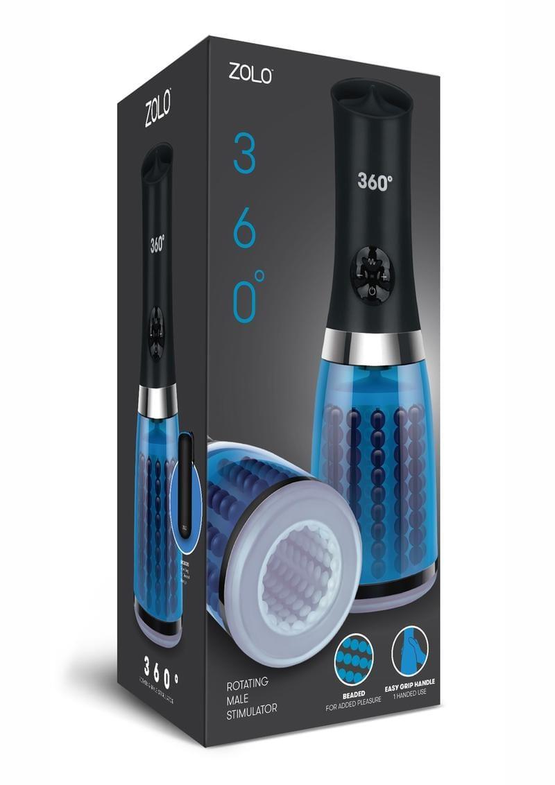 ZOLO 360° Rotating Male Stimulator Beaded Masturbator Blue