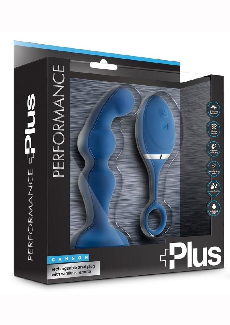 Performance Plus Cannon Anal Plug Blue Multi Speed Remote Control
