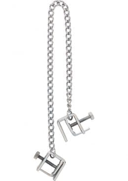Adjustable Press Nipple Clamps With Link Chain Silver