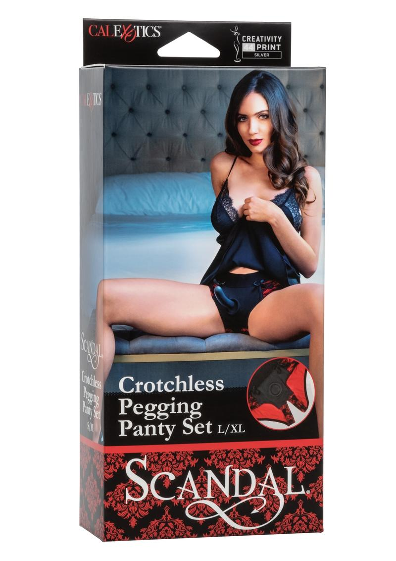 Scandal Crotchless Pegging Panty Set  Harness and Strap-On L/XL