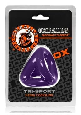 Tri Sport 3-Ring Cock and Ball Sling Non Vibrating Purple