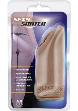 M For Men Sexy Snatch Pussy Beaded Stroker Brown 5.75 Inch