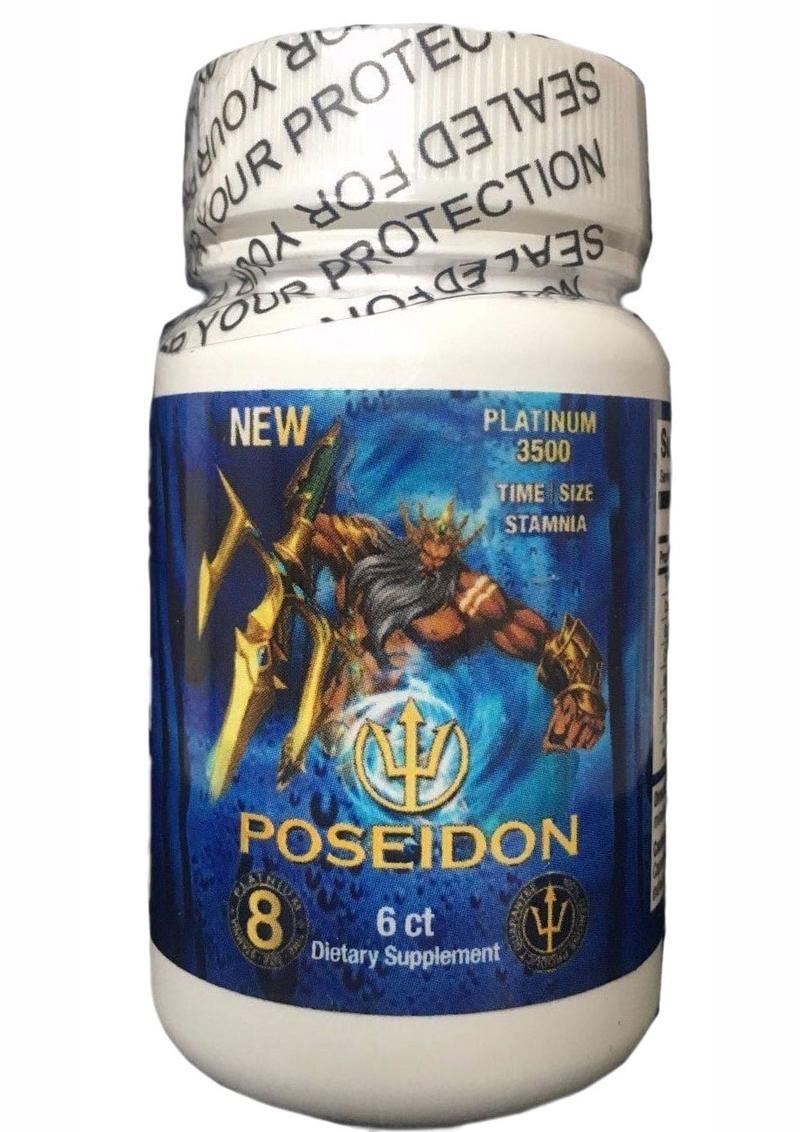 Poseidon Platinum 3500 Blue Male Stamina Supplement Pills 6 Counts Per Bottle