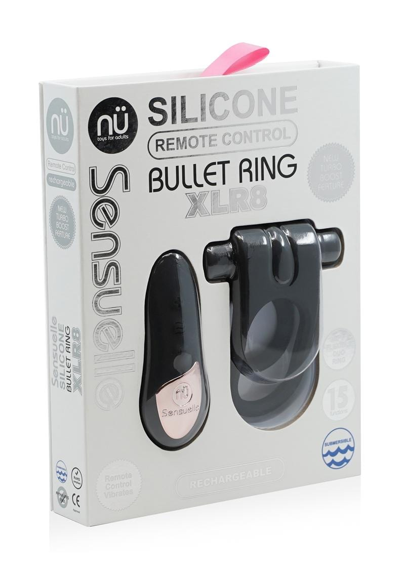 Sensuelle Silicone Bullet Ring Remote Control Rechargeable Cockring Black