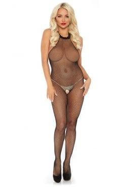 Leg Avenue Seamless Fishnet Halter Bodystocking – O/S – Black