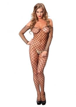 Leg Avenue Fence Net Off The Shoulder Bodystocking – O/S – Black