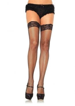Leg Avenue Stay Up Lycra Fishnet With Lace Top Thigh High – O/S – Black