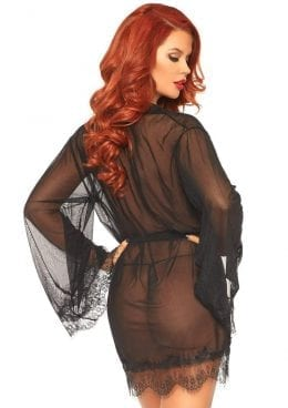 Leg Avenue Sheer Short Robe With Eyelash Lace Trim And Flared Sleeves
