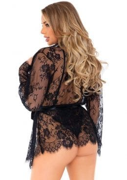 Leg Avenue Floral Lace Teddy With Adjustable Straps And Cheeky Thong Back
