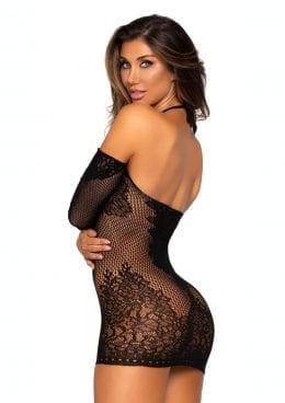 Leg Avenue Seamless Lace And Net Long Sleeved Mini Dress With Keyhole Twist Halter And Eyelet Trim - O/S - Black
