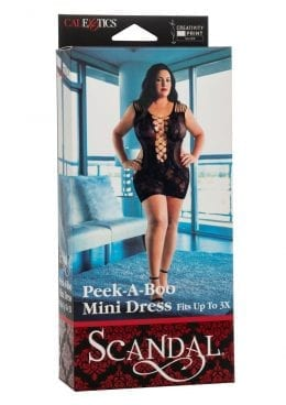 Scandal Peek-A-Boo Mini Dress - Plus Size - Black