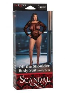 Scandal Off The Shoulder Body Suit - Plus Size - Black