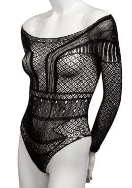 Scandal Off The Shoulder Body Suit – Plus Size – Black