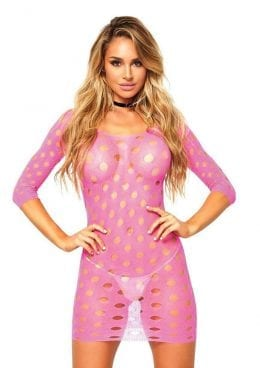 Leg Avenue Seamless Pothole Mini Dress With 3/4 Sleeve - O/S - Neon Pink
